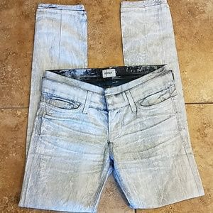 Hudson painted Jean's with leather top accent 26